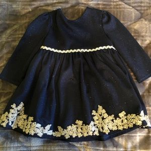 24M sparkly blue dress with silver embroidery.